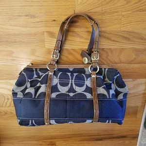 Authentic Coach denim and brown signature C bag